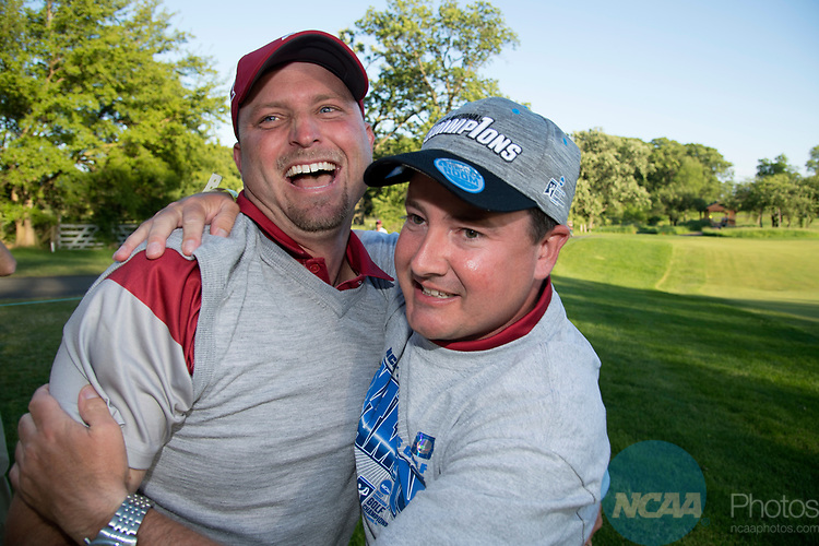 SUGAR GROVE, IL - MAY 31: Head Coach Ryan Hybl and Assistant Coach Jim Garren of the University of Oklahoma celebrate their victory during the Division I Men's Golf Team Championship held at Rich Harvest Farms on May 31, 2017 in Sugar Grove, Illinois. (Photo by Jamie Schwaberow/NCAA Photos via Getty Images)