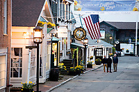 Shops and restaurants are seen on Bannister's Wharf in Newport, Rhode Island, on Wed., April 19, 2017.