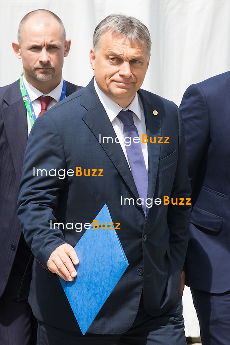Victor Orban ( Hongrie )  arrive au Sommet du Parti Populaire Europ&eacute;en (PPE), &agrave; Bruxelles.<br /> Belgique, Bruxelles, 28 juin 2016<br /> Viktor Orban ( Hungary )  attends The European People&rsquo;s Party Summit, in Brussels.<br /> Belgium, Brussels, 28 June 2016