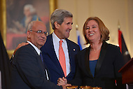 July 30, 2013  (Washington, D.C.)  U.S. Secretary of state John Kerry hosts Palestinian Chief Negotiator Dr. Saeb Erekat (l) and Israeli Justice Minister Tzipi Livni (r) for Middle East peace talks. (Photo by Don Baxter/Media Images International)