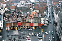 Bruges: The Markt from Halles Belfry.   Photo '87.