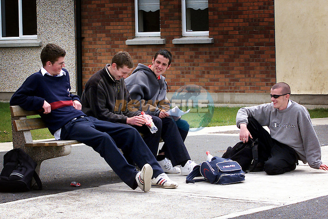 James Moore, Emmet White, Danny Finlay and Barry Black, St Mary's school relaxing between exams..Picture:Arthur Carron