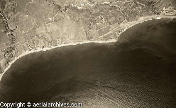 historical aerial photograph Malibu, California, 1947