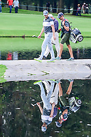 Thomas Pieters (BEL) walks across the bridge on 6 and sees his own reflection during round 2 of the World Golf Championships, Mexico, Club De Golf Chapultepec, Mexico City, Mexico. 3/3/2017.<br /> Picture: Golffile | Ken Murray<br /> <br /> <br /> All photo usage must carry mandatory copyright credit (&copy; Golffile | Ken Murray)
