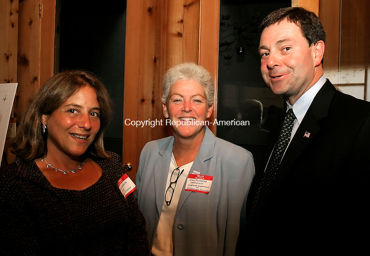 LAKEVILLE, CT--06 OCTOBER 2005- 100605JS15--Housatonic Valley Association Executive Director Lynn Werner, left, with Connecticut Department of Environmental Protection Commissioner Gina McCarthy and Sen. Andrew Roraback (R-30) at the HVA's annual meeting held at the Interlaken Inn in Lakeville.    Jim Shannon / Republican American--Lynn Werner; Gina McCarthy,  Sen. Andrew RorabackHousatonic Valley Association; Lakeville; Interlaken Inn are CQ