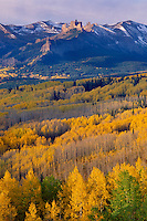 Aspens and The Castles <br /> West Elk Mountains <br /> Gunnison National Forest <br /> Rocky Mountains,  Colorado