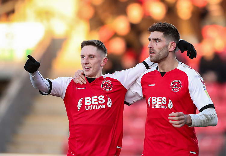 Fleetwood Town's Ched Evans celebrates scoring his side's first goal with team mate Ashley Hunter  <br /> <br /> Photographer Andrew Kearns/CameraSport<br /> <br /> The EFL Sky Bet League One - Fleetwood Town v Charlton Athletic - Saturday 2nd February 2019 - Highbury Stadium - Fleetwood<br /> <br /> World Copyright © 2019 CameraSport. All rights reserved. 43 Linden Ave. Countesthorpe. Leicester. England. LE8 5PG - Tel: +44 (0) 116 277 4147 - admin@camerasport.com - www.camerasport.com