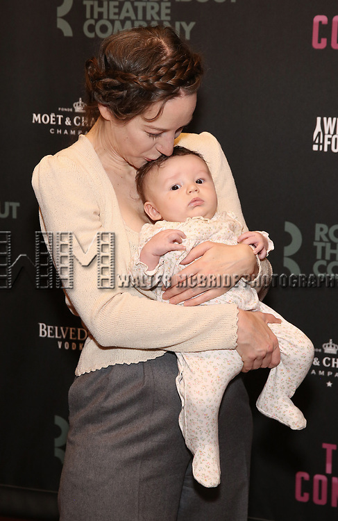 Brooke Bloom and child attends the Broadway Opening Night After Party for The Roundabout Theatre Company production of 'Time and The Conways'  on October 10, 2017 at the American Airlines Theatre in New York City.