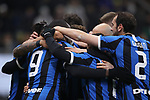 Romelu Lukaku of Inter celebrates with team mates after scoring with a header to give the side a 3-0 lead during the Coppa Italia match at Giuseppe Meazza, Milan. Picture date: 14th January 2020. Picture credit should read: Jonathan Moscrop/Sportimage