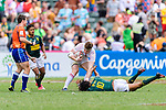 Will Wilson of England (C) fights with Stedman Gans of South Africa (R) during the HSBC Hong Kong Sevens 2018 match between South Africa and England on April 7, 2018 in Hong Kong, Hong Kong. Photo by Marcio Rodrigo Machado / Power Sport Images