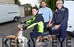 Johnny Daly from Keel seated on the Bike with Stephen O'Connor and James Connor at the Honda 50 run at the Anvil Bar for the Palliative Care Unit on Sunday,