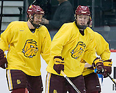 Jake Hendrickson (Duluth - 15), Mike Connolly (Duluth - 22) - The University of Minnesota-Duluth Bulldogs practiced on Wednesday, April 6, 2011 during the 2011 Frozen Four at the Xcel Energy Center in St. Paul, Minnesota.