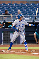 AZL Royals catcher Michael Arroyo (7) at bat against the AZL Mariners on July 29, 2017 at Peoria Stadium in Peoria, Arizona. AZL Royals defeated the AZL Mariners 11-4. (Zachary Lucy/Four Seam Images)