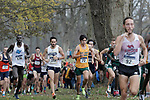 EVANSVILLE, IN - NOVEMBER 18: From left - Wuoi Mach (136) of Grand Valley State University, Tom Bains (212) of Queens University of Charlotte and Ruben Dominguez of Cal Poly Pomona compete in the Division II Men's Cross Country Championship held at the Angel Mounds on November 18, 2017 in Evansville, Indiana. (Photo by Tim Broekema/NCAA Photos/NCAA Photos via Getty Images)