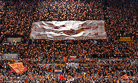 Calcio, Serie A: Roma vs Milan. Roma, stadio Olimpico, 25 aprile 2014.<br /> AS Roma fans wave flags prior to the start of the Italian Serie A football match between AS Roma and AC Milan at Rome's Olympic stadium, 25 April 2014.<br /> UPDATE IMAGES PRESS/Riccardo De Luca