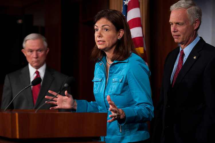 WASHINGTON, DC - July 05: Sen. Jeff Sessions, R-Ala., Sen. Kelly Ayotte, R-N.H., and Sen. Ron Johnson, R-Wis., during a news conference after Senate leaders pulled from the floor a resolution (S J Res 20) authorizing limited U.S. military engagement in Libya when it became clear that Republicans -- including co-sponsors of the measure -- would stage a filibuster to make a point about the larger deficit debate consuming Washington. (Photo by Scott J. Ferrell/Congressional Quarterly)