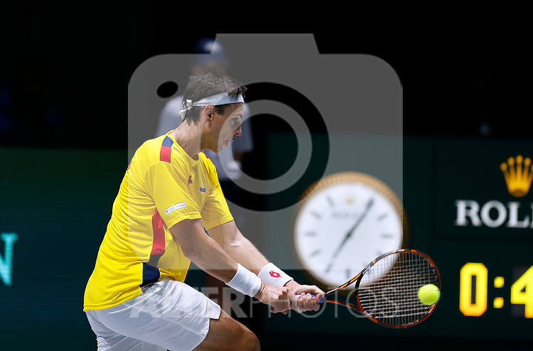 Alejandro Gonzalez of Colombia plays a backhand against Alejandro Gonzalez of Colombia during Day 2 of the 2019 Davis Cup at La Caja Magica on November 19, 2019 in Madrid, Spain. (ALTERPHOTOS/Manu R.B.)