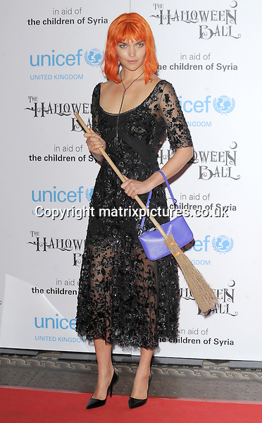 NON EXCLUSIVE PICTURE: PAUL TREADWAY / MATRIXPICTURES.CO.UK<br /> PLEASE CREDIT ALL USES<br /> <br /> WORLD RIGHTS<br /> <br /> American fashion model Arizona Muse attending the UNICEF Halloween Ball at London's One Mayfair.<br /> <br /> OCTOBER 31st 2013<br /> <br /> REF: PTY 137081