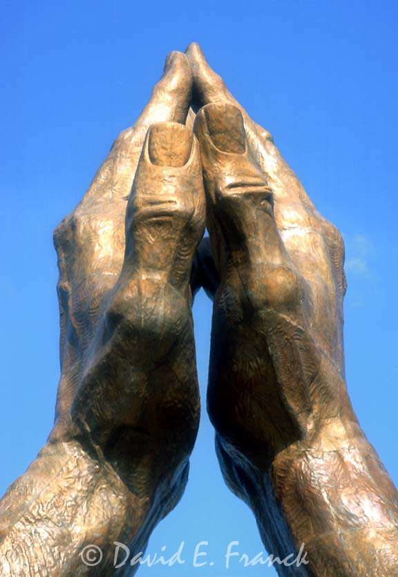 Giant Praying Hands bronze statue at Oral Roberts University in Tulsa Oklahoma