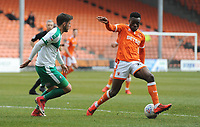 Blackpool's Marc Bola under pressure from Plymouth Argyle's Niall Canavan<br /> <br /> Photographer Kevin Barnes/CameraSport<br /> <br /> The EFL Sky Bet League One - Blackpool v Plymouth Argyle - Saturday 30th March 2019 - Bloomfield Road - Blackpool<br /> <br /> World Copyright © 2019 CameraSport. All rights reserved. 43 Linden Ave. Countesthorpe. Leicester. England. LE8 5PG - Tel: +44 (0) 116 277 4147 - admin@camerasport.com - www.camerasport.com