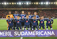 BOGOTÁ -COLOMBIA, 18-09-2018:Team of Millonarios.Acción de juego entre los equipos Independiente Santa Fe  de Colombia y    Millonarios de Colombia durante partido por los octavos de final ,llave A,  de La Copa Conmebol Sudamericana 2018,jugado en el estadio Nemesio Camacho El Campín de la ciudad de Bogotá./Team of Milonarios.Action game between  Independiente Santa Fe of Colombia and   Millonarios of Colombia during game for the knockout round, key A, of the Conmebol Sudamericana Cup  2018, played at the Nemesio Camacho stadium The Campín of the city of Bogotá. Photo: VizzorImage/ Felipe Caicedo / Staff