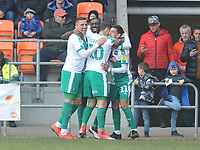 Plymouth Argyle's Freddie Ladapo (second left) celebrates scoring the opening goal with team-mates Antoni Sarcevic, Graham Carey and Ruben Lameiras <br /> <br /> Photographer Kevin Barnes/CameraSport<br /> <br /> The EFL Sky Bet League One - Blackpool v Plymouth Argyle - Saturday 30th March 2019 - Bloomfield Road - Blackpool<br /> <br /> World Copyright © 2019 CameraSport. All rights reserved. 43 Linden Ave. Countesthorpe. Leicester. England. LE8 5PG - Tel: +44 (0) 116 277 4147 - admin@camerasport.com - www.camerasport.com
