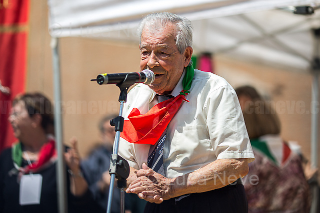 """Mario Di Maio (Antifascist Partizan. Member of the Partigiani: the Italian Resistance during WWII).<br /> <br /> Rome, 25/04/2018. Today, to mark the 73rd Anniversary of the Italian Liberation from nazi-fascism ('Liberazione'), ANED Roma & ANPI Roma (National Association of Italian Partizans) held a march ('Corteo') from Garbatella to Piazzale Ostiense where a rally took place attended by Partizans, Veterans and politicians – including the Mayor of Rome and the President of Lazio's Region. FOR THE FULL CAPTIONS PLEASE CHECK """"Photo Stories - 2010 to Today"""" 25.04.2018."""