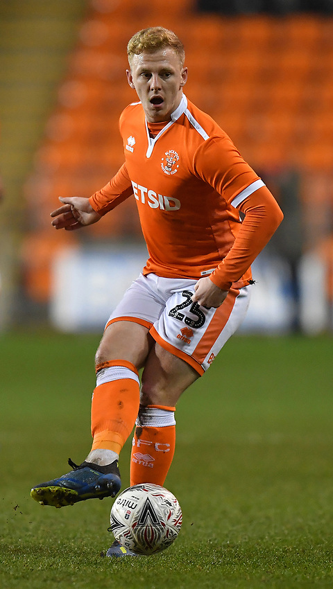 Blackpool's Callum Guy<br /> <br /> Photographer Dave Howarth/CameraSport<br /> <br /> The Emirates FA Cup Second Round Replay - Blackpool v Solihull Moors - Tuesday 18th December 2018 - Bloomfield Road - Blackpool<br />  <br /> World Copyright © 2018 CameraSport. All rights reserved. 43 Linden Ave. Countesthorpe. Leicester. England. LE8 5PG - Tel: +44 (0) 116 277 4147 - admin@camerasport.com - www.camerasport.com