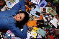 Ragazza e libri. Girl and books....