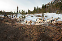 Jim Lanier on a near-snowless section of the trail 13 miles after leaving the Rohn checkpoint during Iditarod 2009