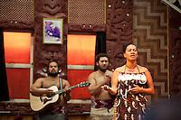 Maori Woman Singing at Te Puia Moari Village, Rotorua, North Island, New Zealand