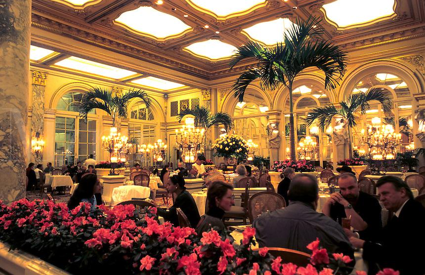 Atrium restaurant in the Plaza Hotel, New York City, USA