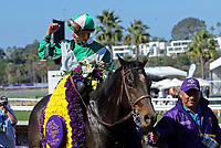 DEL MAR, CA - NOVEMBER 04: Irad Ortiz Jr., aboard Bar of Gold #5 celebrates winning the Breeders' Cup Filly & Mare Sprint race on Day 2 of the 2017 Breeders' Cup World Championships at Del Mar Racing Club on November 4, 2017 in Del Mar, California. (Photo by Sue Kawczynski/Eclipse Sportswire/Breeders Cup)