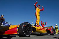 Ryan Hunter-Reay, #28 Honda, celebration, Detroit Grand Prix, IndyCar race, Belle Isle, Detroit, MI, June 2018.(Photo by Brian Cleary/bcpix.com)