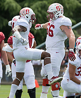 Stanford, CA - April15, 2017:  Alameen Murphy (4) Harrison Phillips (66) at Cagan Stadium.