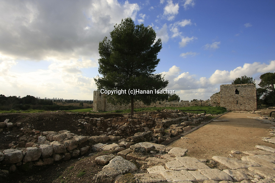 Israel, Sharon region. Remains of the Roman city Antipatris built by King Herod in Tel Afek, Ottoman fortress Binar Bashi is in the background