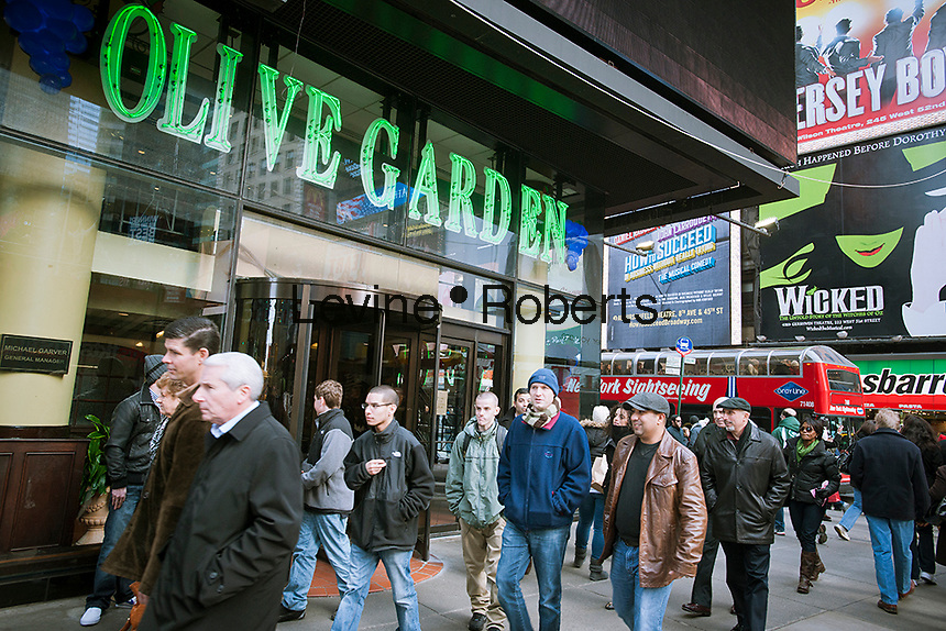 An Olive Garden restaurant in Times Square in New York is seen on Friday, December 16, 2011.  (© Richard B. Levine)
