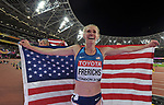 Courtney FRERICHS (USA) celebrates with the flag in the womens 3000m steeplechase final. IAAF world athletics championships. London Olympic stadium. Queen Elizabeth Olympic park. Stratford. London. UK. 11/08/2017. ~ MANDATORY CREDIT Garry Bowden/SIPPA - NO UNAUTHORISED USE - +44 7837 394578