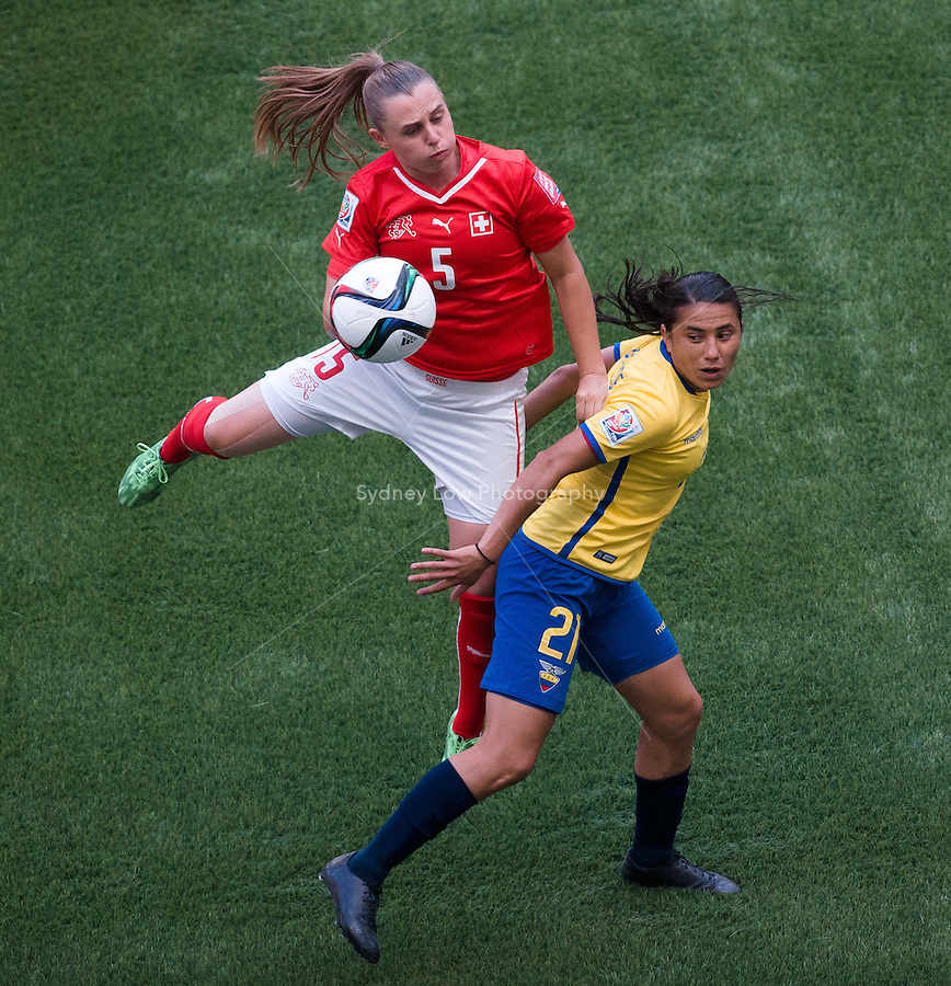 June 12, 2015: Noelle MARITZ of Switzerland heads the ball during a Group C match at the FIFA Women's World Cup Canada 2015 between Switzerland and Ecuador at BC Place Stadium on 12 June 2015 in Vancouver, Canada. Switzerland won 10-1. Sydney Low/AsteriskImages