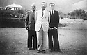 Iran 1946 .In the middle, Qazi Mohammed; left,Musfa Sultanian, Foreign Relations and right, Said Homayoun on the first journey to Mahabad for negotations  .Iran 1946 .Premier voyage a Mahabad pour des negotiations, au centre Qazi Mohammed; a gauche, Musfa Sultanian et a droite Said Homayoun