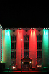 The facade of the night illuminated colorful Hollywood Museum at the Hollywood Boulevard on December 27, 2015 in Los Angeles.