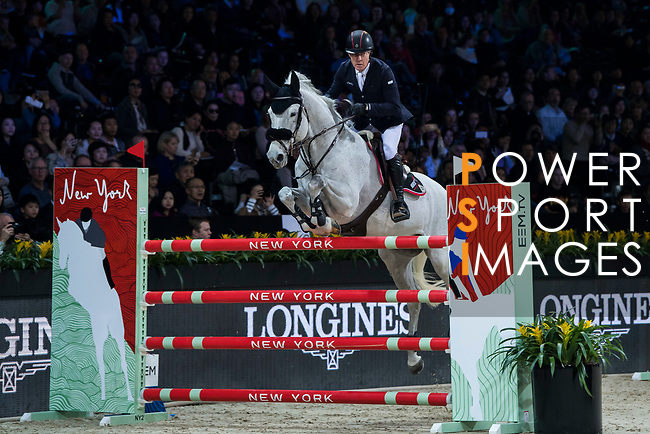 Michael Whitaker of Great Britain riding Valentin R competes in the Masters One DBS during the Longines Masters of Hong Kong at AsiaWorld-Expo on 11 February 2018, in Hong Kong, Hong Kong. Photo by Diego Gonzalez / Power Sport Images