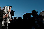 Ultra-Orthodox Jewish men during a protest in Jerusalem, Israel, against a planned construction of a new neighborhood at the town of Ramat Beit Shemesh. They claim the designated construction area is full of ancient burial caves.