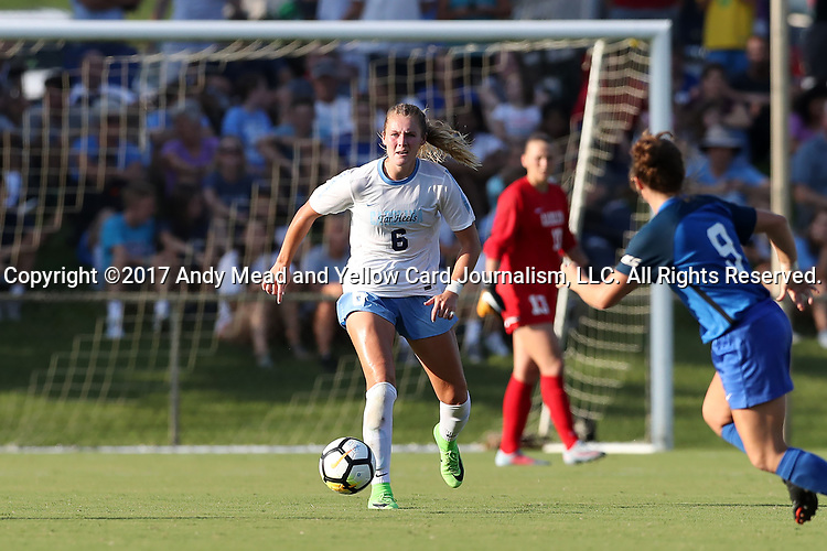 CARY, NC - AUGUST 18: North Carolina's Taylor Otto. The University of North Carolina Tar Heels hosted the Duke University Blue Devils on August 18, 2017, at Koka Booth Stadium in Cary, NC in a Division I college soccer game.
