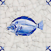 Fish Delft, a hand-cut cut jewel glass mosaic, shown in  Opal Sea Glass™ with jewel glass Lapis Lazuli, Iolite, and Covelite, is part of the Sea Glass™ Collection by New Ravenna.