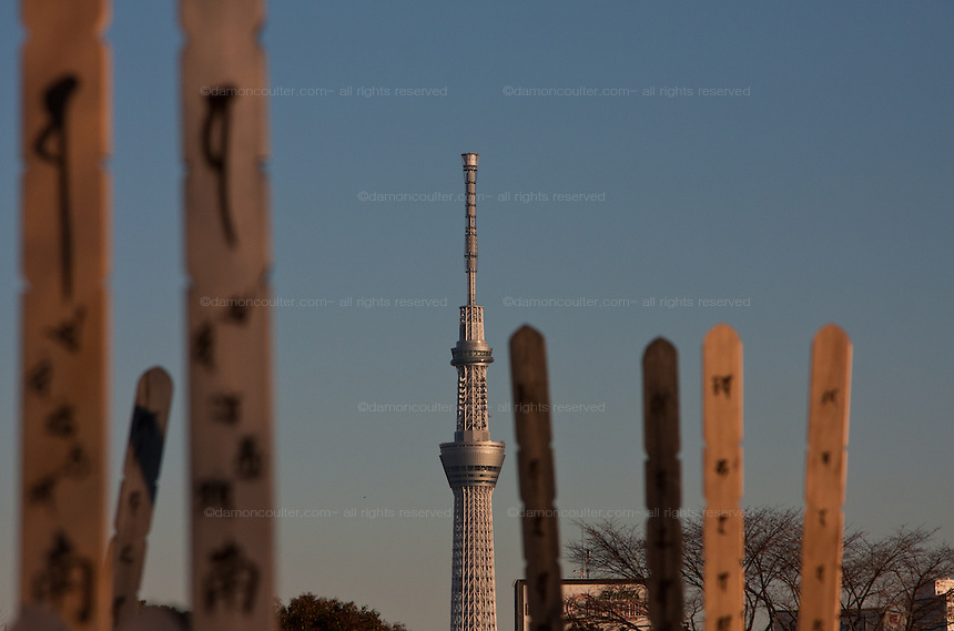 Tokyo Skytree seen behind graves in Yanaka cemetery in Nippori, Tokyo, Japan Friday January 11th  2013