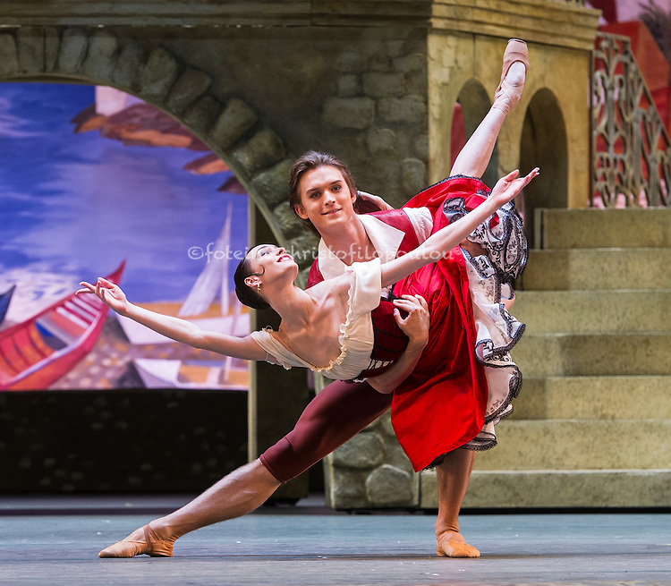 London, UK. 25.07.2016. The Bolshoi Ballet season opens with the London premiere of a new restaging of Alexei Fadeyechev's staging of Petipa's Don Quixote at the Royal Opera House. Photo shows: Olga Smirnova & Danis Rodkin (Kitri & Basil). Photo - © Foteini Christofilopoulou.