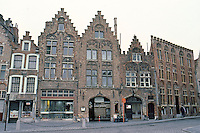 Bruges: Houses, Jan Van Eyck Plein houses--very similar to those in Grote Markt, Antwerp. Photo '87.