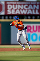 St. Lucie Mets third baseman Edgardo Fermin (2) throws to first base during a Florida State League game against the Bradenton Barbanegras on July 27, 2019 at LECOM Park in Bradenton, Florida.  Bradenton defeated St. Lucie 3-2.  (Mike Janes/Four Seam Images)