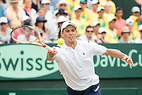 March 5, 2016: Mike Bryan of USA in action against Lleyton Hewitt and John Peers of Australia during the doubles match of the BNP Paribas Davis Cup World Group first round tie between Australia and USA at Kooyong tennis club in Melbourne, Australia. Photo Sydney Low